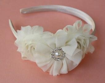 Ivory headband plastic cream headband satin headband flower girl headband gold headband wedding headband toddler girls headband ivory