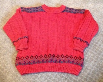 Handmade Red wool sweater, made in Norway size 4/5