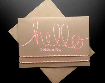 Friendship Bracelet Greeting Card - Hello, I missed you. - Neon Pink