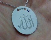 ALLAH Necklace, Silver, Allah Pendant, Evil Eye Necklace, Quran Necklace, Islam Necklace, Lafzatullah, God Name, Evil Eye Pendant, ALLAH