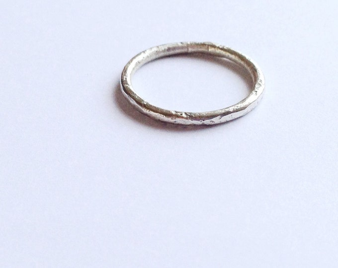 Silver Halo Ring with Distressed Texture