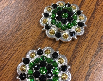 Two 1-1/2 inch Fern green and jet black shiny silver conchos with gold.