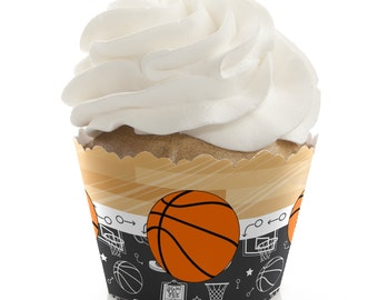 Basketball Cupcake Wrappers - Baby Shower Cupcake Decorations - Birthday Party Cupcake Supplies - Set of 12 Cupcake Liners