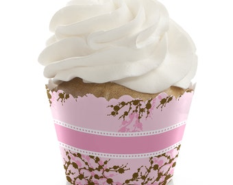 Cherry Blossom Cupcake Wrappers - Baby Shower, Birthday Party, or Bridal Shower Party Cupcake Decorations - Set of 12