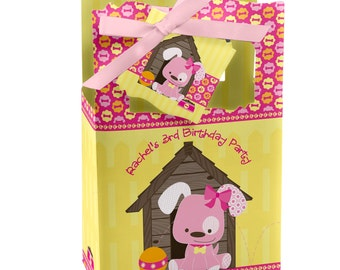 Pink Girl Puppy Favor Boxes - Custom Baby Shower and Birthday Party Supplies - Set of 12