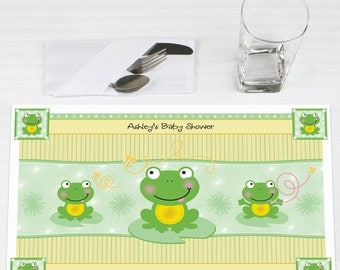 Set of 12 Froggy Frog Placemats - Personalized Baby Shower or Birthday Party Supplies