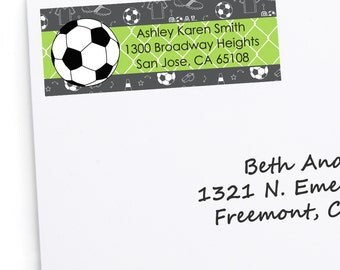 Soccer Address Labels - Personalized Baby Shower or Birthday Party Return Address Sticker - 30 Count