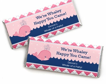 24 Tale Of A Girl Whale Custom Candy Bar Wrappers - Personalized Baby Shower and Birthday Party Favors