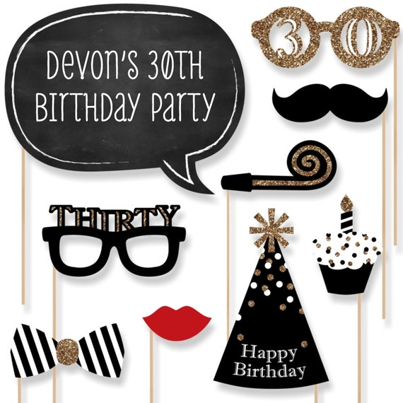 photo prop ideas for adults - 30th Birthday Party Booth Props Adult by