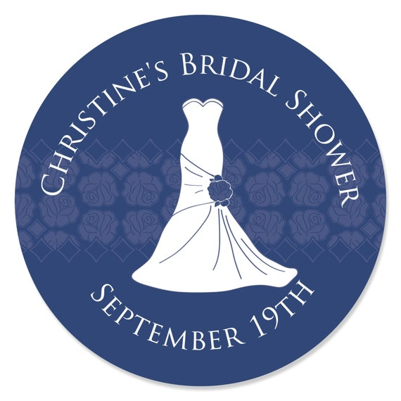 24 Wedding Dress Blue Circle Stickers Personalized Bridal