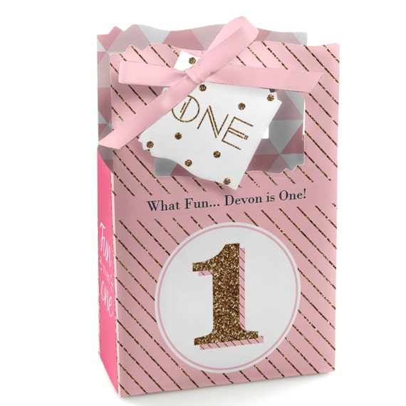 Personalized 1st Birthday Favor Boxes : Fun to be one st birthday girl favor boxes custom