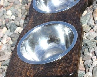 SMALL Raised Dog Feeder, Dark Espresso Tint, Curvy Edge Version, Two 3/4qt SSBowls, 4inch tall, Elevated Dog Bowls, Small Dog Size, Quality