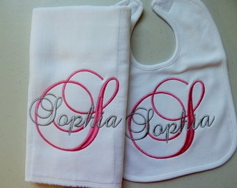 BABY GIRL 2-Piece Set, Burp Cloth and Bib, Personalized; Great Gift Set