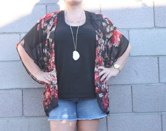 Black with Red Floral Chiffon Kimono, One size fit's most