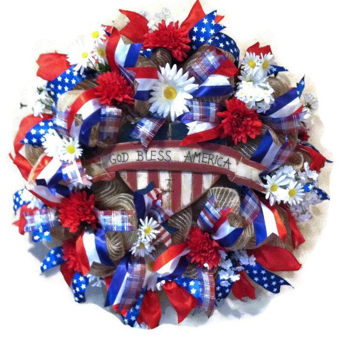 Patriotic Deco Mesh Wreath 4th Of July Wreath Memorial Day