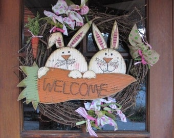 """18"""" Easter Welcome Wreath Easter Twig Wreath Easter Bunny Wreath Welcome Carrot Wreath Green Pink Spring Wreath Rabbit Welcome Wreath"""