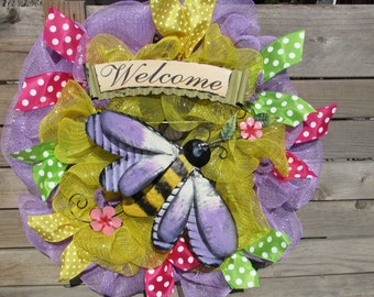 "26"" Summer Wreath Welcome Wreath Bumble Bee Wreath Bee Deco Mesh Wreath Yellow Purple Wreath Summer Decor Welcome Summer Wreath Spring Decor"