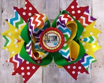 Autism Awareness Over the Top Hair Bow