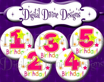 Girl Birthday 1st - 5th - 1 inch round digital graphics - Instant Download