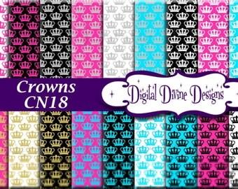 Crowns Digital Scrapbooking  Paper Set - Instant Download