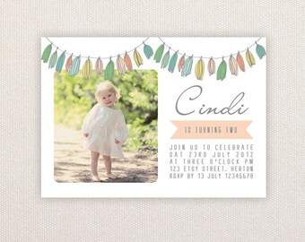 Photo Birthday Party Invitations. Tassel buntings. I Customize, You Print.