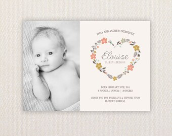 Girls Photo Birth Announcement. I Customize, You Print. Floral heart wreath