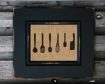 Kitchen Utensils Burlap Print Home Decor Chef Gift Great Cook - PRINT ONLY