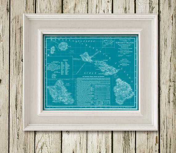 HAWAII MAP Printable Instant Download Poster Home Decor Wall Art Digitale CM201teal