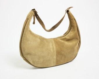 Vintage 80's 90's Beige Tan Genuine Suede Hobo Bag