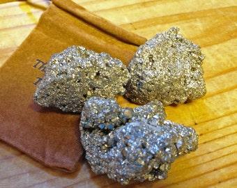 Fools Gold - Pyrite Gems - Gem Mine Party Favor - Set of Three Pyrite Stones