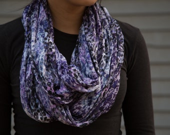 Sheer purple, light gray, and white abstract leopard pattern infinity scarf (cowl)