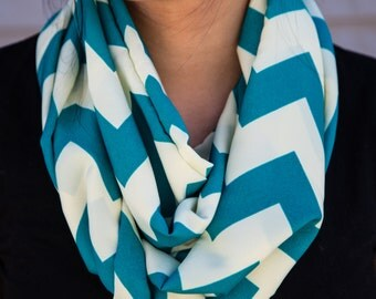 Light blue and cream chevron pattern infinity scarf (cowl)