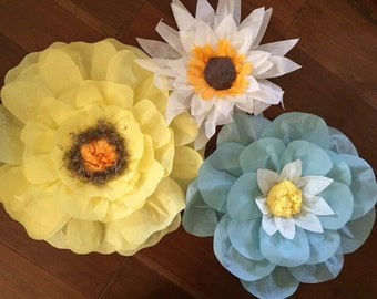 3 tissue paper flowers