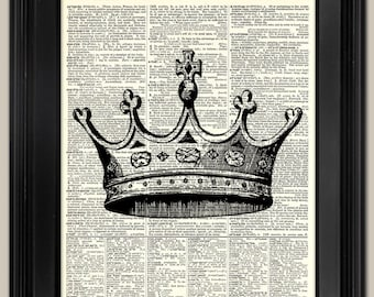 "Queen's Crown art print. Upcycled vintage book page art print. Print on book page.  Fits 8""x10"" frame."