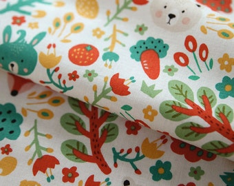 Cute Forest Animal Pattern Cotton Fabric by Yard (White)