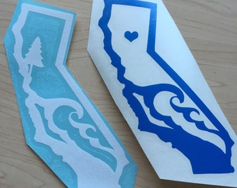 California Waves - Vinyl Decal - Bumper Sticker - State of California - White ,Green or Blue