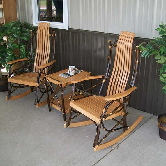 Hickory 3pc rocking chair set for Front porch chair set