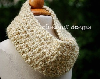 Toddler Oatmeal Cream Crochet Cowl Infinity Child Scarf Warmer