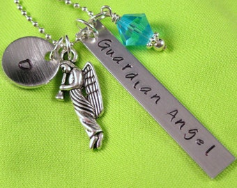 Hand Stamped Guardian Angel Memorial Remembrance Necklace Personalized Religion Necklace