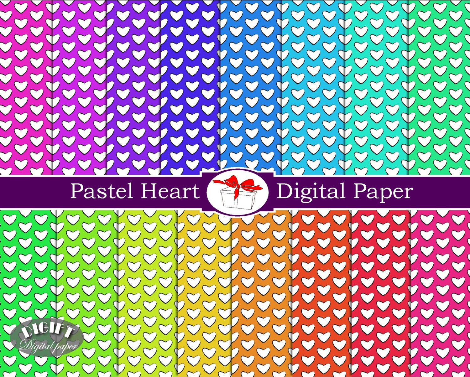 Pastel Hearts digital paper Pastel painting heart clipart