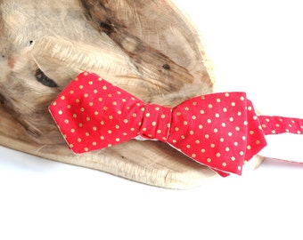 Red Diamond Point Self Tie Bow Tie. Gold Polka Dots Groom Slim Line Bow Tie. Double Sided Bow Tie.