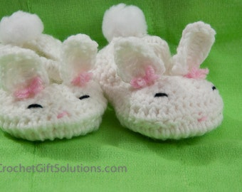 Baby Booties, Crochet Baby Booties, Animal Booties, Cute Baby Bunny Booties, Easter Bunny Booties, Crochet Bunny Booties - Made to Order