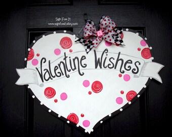 Valentine Wishes Heart Door Sign