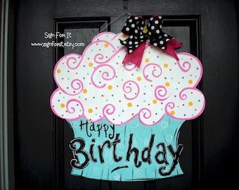 Birthday Cupcake Door Sign