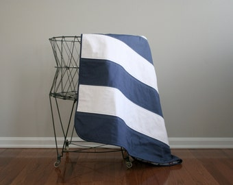 Modern blue and white striped nautical quilt
