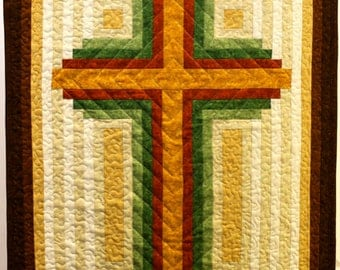 Cross Quilt Pattern - Log Cabin Christian Cross - multiple sizes