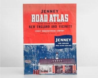 vintage road atlas, jenney road atlas, jenney gas station, 1960's road atlas, new england road atlas, automotive ephemera