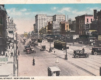New Orleans vintage postcard  .Canal street . Vintage city postcard