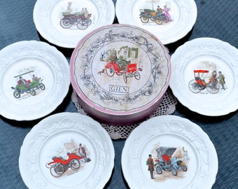 Boxed Set of 6 Vintage Plates by Gien of France - Cream Ware Salad Plates Each Decorated with a Classic Automobile Images from 1883 - 1907