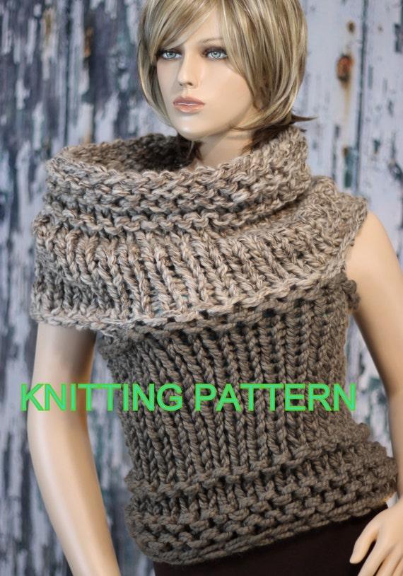 Knitting Patterns For Beginners Vest : KNITTING PATTERN Beginner/ Hand Knit 2-tone Convertible Vest